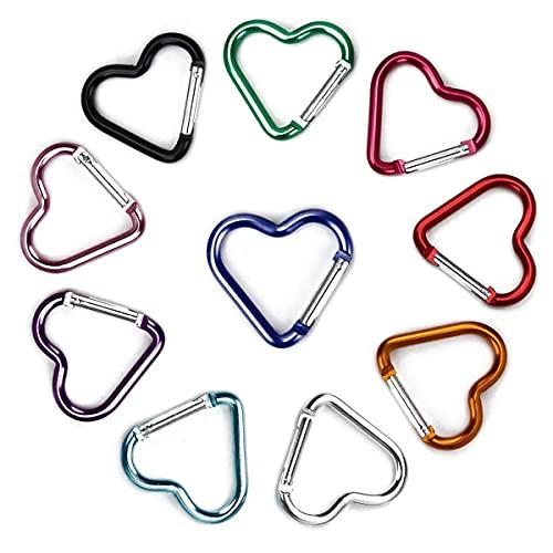 10 Pcs Heart Shaped Aluminum Alloy Keychain Clip Carabiner Snaphook Hook Holder Aluminum Heart
