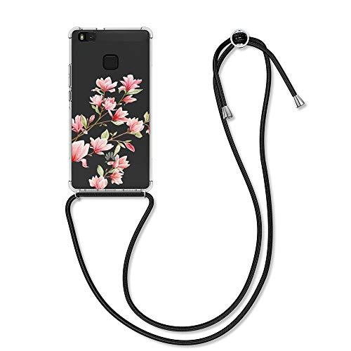 kwmobile Funda con Cuerda Compatible con Huawei P9 Lite - Carcasa de TPU con Colgante Magnolias Rosa Claro/Blanco/Transparente