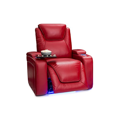 Seatcraft Equinox Home Theater Seating - Top Grain Leather - Power Recliner - Power Headrest - Powered Lumbar - USB Charging Storage - SoundShaker - Lighted Cup Holders (Single Recliner, Black)