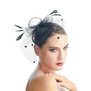 SACASUSA Feather Flower Fascinator Polka Dot Net Pillbox Cocktail Hat Hair Clip