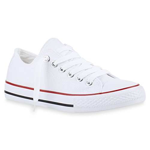 stiefelparadies Bequeme Damen Schuhe Sneakers Low Cut Canvas Schuhe Basic Schnürer 141119 Weiss Rot Bernice 36 Flandell