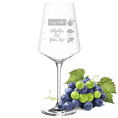 POMEKI® Leonardo PUCCINI Weinglas mit Gravur spülmaschinenfest, Weinglas guter Tag schlechter Tag Frag nicht, Stimmungsglas, Rotweinglas mit Gravur, Weißwein Glas auch als Dekoration (560 ml)