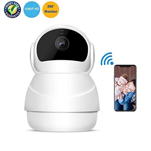 Cámara IP HD 1080P WiFi Cámara de seguridad inalámbrica interior con visión nocturna Detección de movimiento Audio bidireccional Cámara de vigilancia casera Cámara espía Pan / Inclinación / Monitor de zoom para bebé / Anciano / mascota