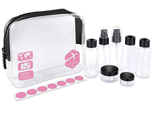 TWIVEE - Transparenter Kulturbeutel mit Reiseflaschenset - 1 Liter - Transparent-Pink - Unisex