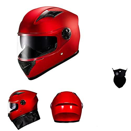 Casco De Moto, Doble Visera Casco Motocross Adultos Mujer Hombre Casco Moto Jet, Modular Seguridad Casco Integral Scooter Casco Integral Retro,Rojo