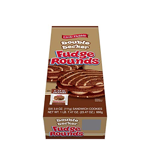 Little Debbie Large Sized Double Decker Rounds, Individually Wrapped (Fudge, Pack of 6)