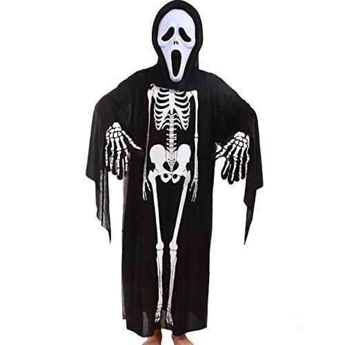 ShiyiUP Conjuntos Disfraces de Esqueleto Mscara Guantes para Halloween Nios