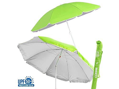 Monty LOLAhome - Sombrilla Playa Parasol de Acero, 200 cm, Verde