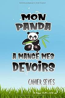 Cahier: avec une réglure seyès parfait pour la rentrée scolaire, fans et amateurs de panda (French Edition)