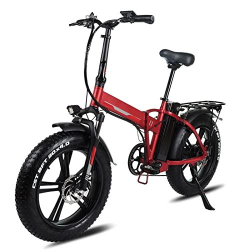 Bicicleta eléctrica plegable for adultos 20 pulgadas 4.0 Bicicleta eléctrica de neumático de grasa 500W / 750W con 48V 15Ah Bicicleta eléctrica plegable de batería ( Color : 48v 500w 20Ah Red )