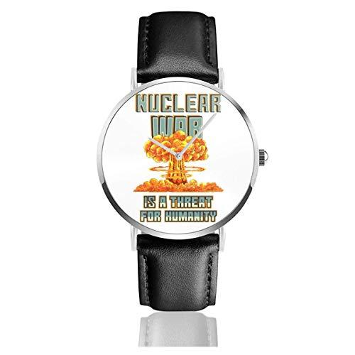 Unisex Business Casual Nuclear War ist eine Bedrohung für die Menschheit Nukleare Explosion Pixel Art Uhren Quarz Lederuhr