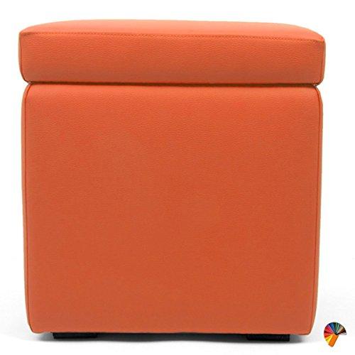 Arketicom Pandora Puff Contenitore Ecopelle poggiapiedi Design Pouf Arancione 42