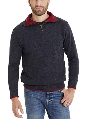 Invisible World Herren Alpaka Pullover – Warmer Kragen Sweater mit Reißverschluss – Blau-Grün L