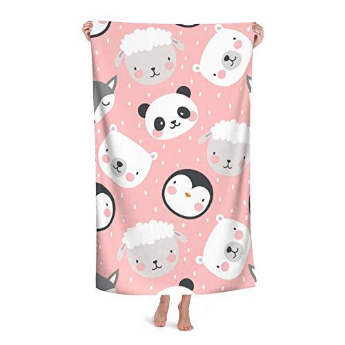 Costura de precisión extra gruesa, toalla de microfibra para playa/piscina, diseño de oso de panda y zorro de tigre y ovejas y pingüino, de secado rápido