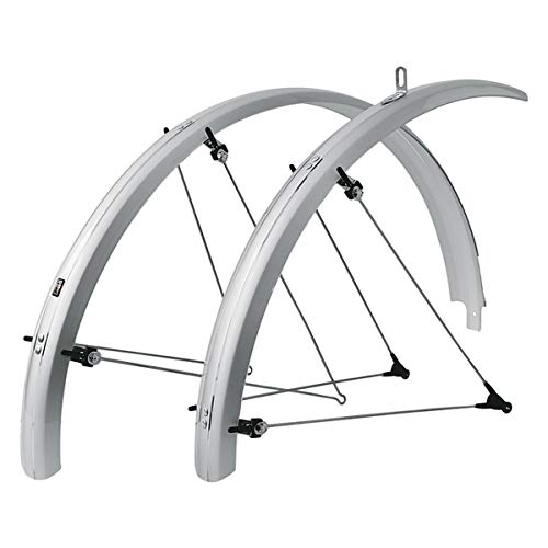 SKS Bluemels Shiny Mudguard Set, Bicycle, Commuter, Road, Mountain Bike Fender, Aluminium, Plastic, Corrosion Resistant, UV Protected, ASR Safety, German, Silver, B60 26' 60 mm, Fits Tires 26x1.6-2.1