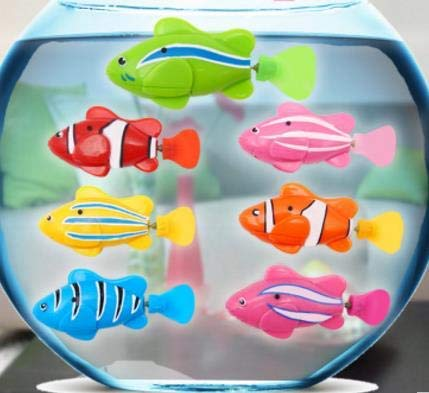 KCASA Swim Electronic Robofish Activated Battery Powered Robo Pet Toys Fish Robotic Pet for Fishing Tank (Pink)