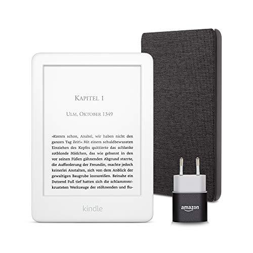 Kindle Essentials Bundle mit einem Kindle (Weiß) ohne Spezialangebote, einer Amazon-Hülle aus Stoff (Kohlenschwarz) und einem Amazon Powerfast 5-W-Ladegerät