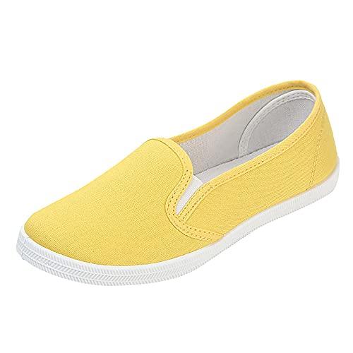 Pianshanzi Zapatillas para mujer, cómodas, ligeras, transpirables, para el tiempo libre, bajas, planas, bonitas zapatillas para mujer, Slip On Essential Nautical Slipper, amarillo, 42 EU