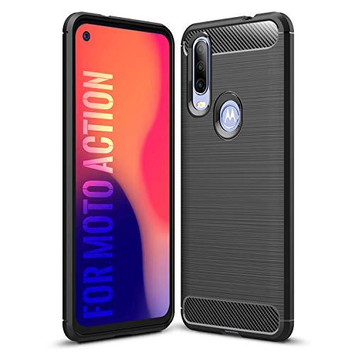 SCL Hülle Für Motorola One Action Hülle Moto One Action Handyhülle Exquisite Serie-Carbon Design Schutzhülle mit Anti-Kratzer & Anti-Stoß Absorbtion Technologie [Schwarz]