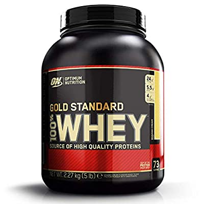Optimum Nutrition Gold Standard Whey Muscle Building and Recovery Protein Powder with Glutamine and Amino Acids, Banana Cream, 73 Servings, 2.27 kg
