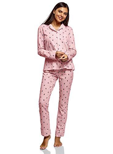 oodji Ultra Damen Bedruckter Pyjama aus Baumwolle, Rosa, DE 34 / EU 36 / XS