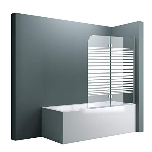 doporro BxH:120x140cm Duschabtrennung/Duschwand für Badewanne aus Glas Cortona1408S-rechts,Badewannenaufsatz Wandanschlag rechts inkl. Nanobeschichtung Badewannenfaltwand