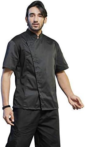 TOPTIE Unisex Black Chef Coat with Mesh Side Panels