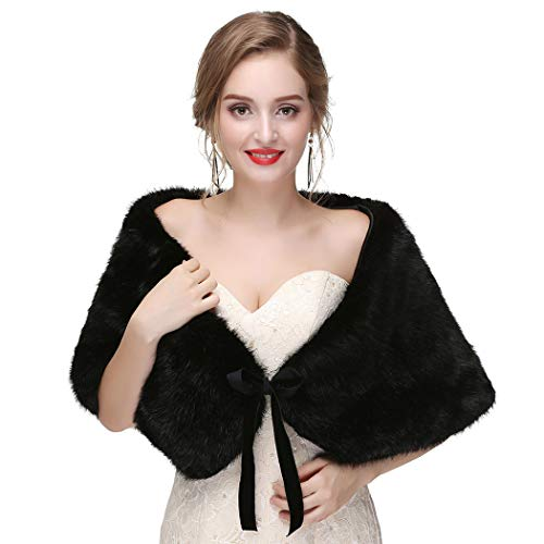 CanB Women's 1920s Faux Fur Shawl Bridal Wedding Fur Wraps and Bolero Shrug Faux Mink Stole for Women and Girls (Black), 45 inches14 ins