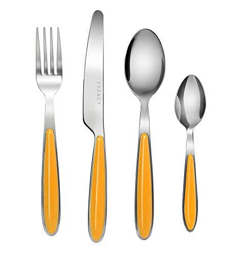 EXZACT EX07 -24 teiliges Besteckset/ Edelstahl-Besteck - Rostfreier Stahl mit farbigen Griffen - 6 Gabeln, 6 Messer, 6 Esslöffel, 6 Teelöffel (Orange x 24)