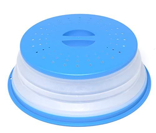 Nifogo Mikrowellen Abdeckung Faltbare Mikrowellenabdeckhaube mit Sieb für Obst und Gemüse, BAP-frei und ungiftig (Blau)