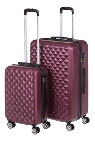 Harde kofferset MONACO 2-delig maat M + XL, 56 + 75 cm, 42 + 110 liter met 360 graden wielen en cijferslot, verschillende kleuren