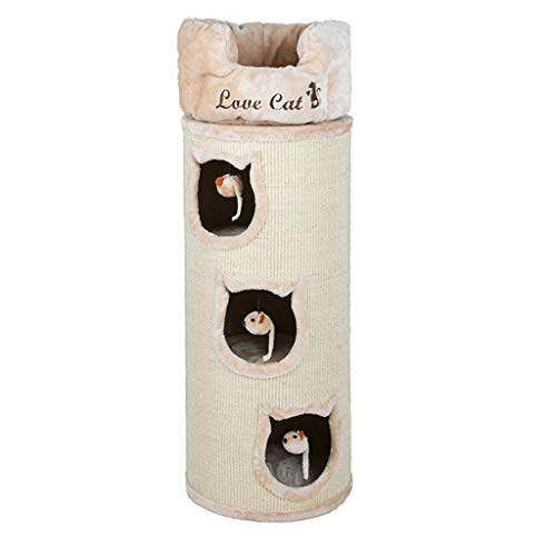 YBYB Katzenkratzbaum Kratzbaum aus Massivholz mit Sisal-Eimer für Katzen, Kletterbriefkasten, Katzenwurm, Katzenwohnung, Katzenspielzeug, Katzennest, Katzenbaum (Farbe: Beige, Größe: drei Schichten)
