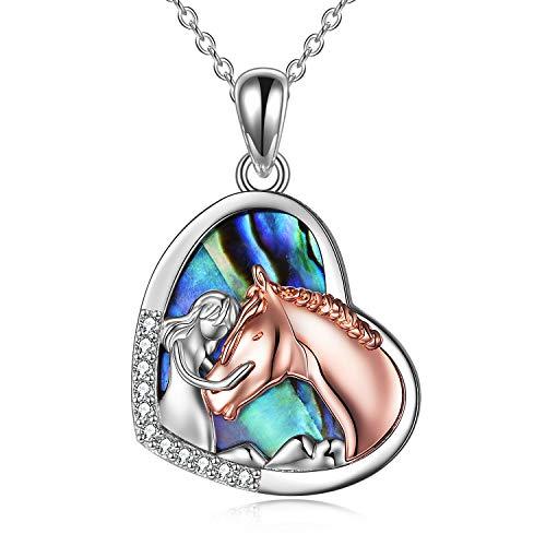 YFN Mädchen und Pferd Halskette für Mädchen Sterling Silber Pferdeschmuck Pferd Geschenke für Frauen (Rose Horse Halskette mit Abalone Shell)