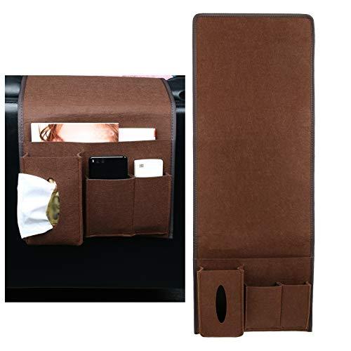 MEIZI Betttasche Bett Tasche Filztasche, Betttasche Zum Einhängen Bett Organizer Bettablage Sofa Organizer Filz Tasche (Kaffeefarbe/Langes Modell)