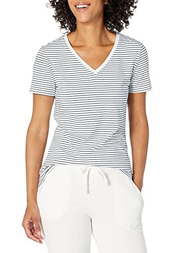 Amazon Essentials Camiseta de manga corta clásico con cuello en V, Mujer, Multicolor (Multicolor (White Stripe/Camo Print)), L, pack de 2