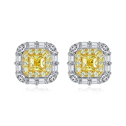 GBKIGCD Pendientes de plata de ley 925 con diseño de citrino de moisanita para boda, joyas de moda simple (Gem Color: amarillo)