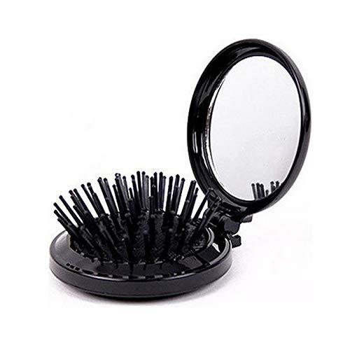 1 brosse à cheveux pliable avec miroir, format de poche, peigne de voyage, cosmétique, miroir de massage du cuir chevelu, outils de beauté, sac à air