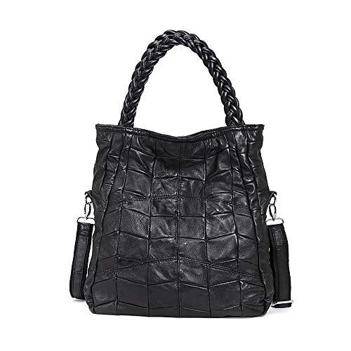 Fashion Mode Damen Handtasche Leder Damentasche Schultertasche Handbag Damentasche Schwarz Tote Bag Armband Handtaschen (S: 32x38x10cm)