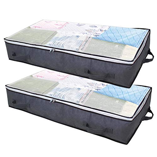 kuou 2 Pack Underbed Storage Bag with Zips, Breathable Foldable Organizer with 4 Reinforced Handle for Blankets Bedding Quilts Duvets Clothes
