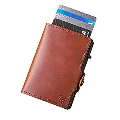 Card Blocr Credit Card Wallet RFID Blocking Slim Minimalist Card Holder Leather Carbon Fiber or Saffiano Covers for Men or Women (Brown Leather)
