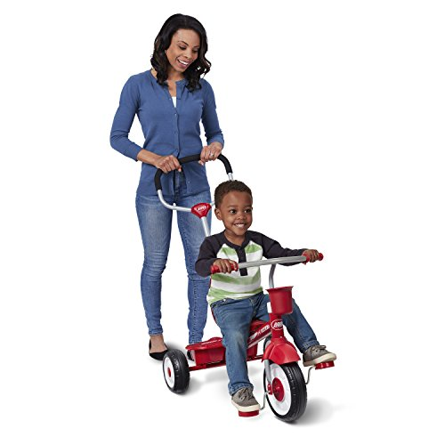 """Radio Flyer 4-in-1 Stroll 'N Trike, Red Toddler Tricycle for Ages 9 Months -5 Years, 19.88"""" x 35.04"""" x 40.75"""""""