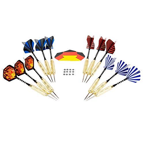 Hieronymus Darts 12 Dartpfeile mit Metallspitze ∙ Präzise Steel Darts ∙ Stabile Flights ∙ Perfekte Flugbahn