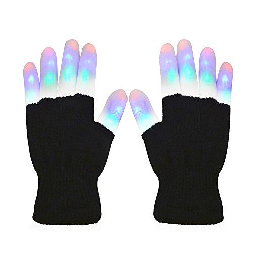 Vicloon LED Handschuhe, 3 Farben & 6 Modi Leuchtende Handschuh, Flashing LED Handschuhe Kinder für Halloween Weihnacht Karneval Party Clubs Disco Festivals - Weiß & Schwarz