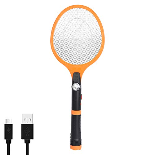 Bug Zapper, Powerful Mosquito Killer Racket, USB Rechargeable Electric Fly Swatter for Home, Outdoor, Super-Bright LED Light to Zap in The Dark - Safe to Touch
