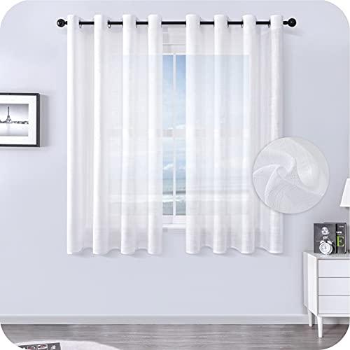 MRTREES Voile Gardinen kurz 2er-Set Leinenoptik Vorhang mit Ösen im Modernen Stores Gardinen Schals Weiß 145×140 (H×B) für Wohnzimmer Schlafzimmer Kinderzimmer