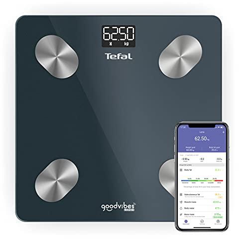 Tefal Goodvibes Life+ - Báscula conectada (10 indicadores corporales, aplicación conectada fácil de usar, número ilimitado de usuarios, capacidad 180 kg y graduación 100g BM9620S1