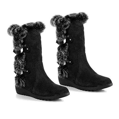 2017 Women Snow Boot Fur Warm Winter Round Toe Knee High Boot Anti-slip Shoes