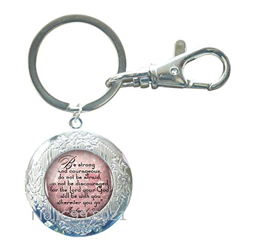 JOSHUA 1:9 Locket Key Ring Scripture Quote Encouragement Bible Quote Jewelry Bible Verse Locket Key Ring Christian Gift Judaica Courage Faith Hope.XT025 (A)