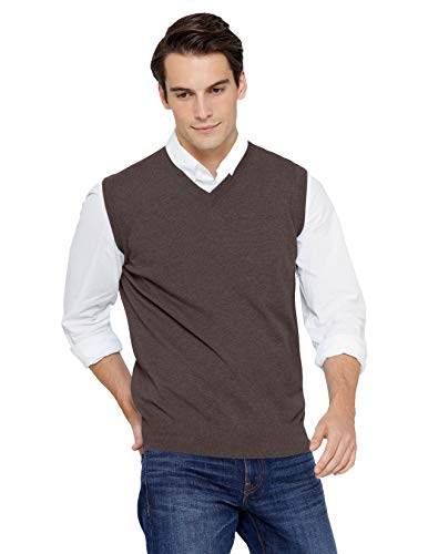 State Cashmere Men's Classic Sleeveless Sweater Vest 100% Pure Cashmere V-Neck Style Pullover (XX-Large, Black Coffee)