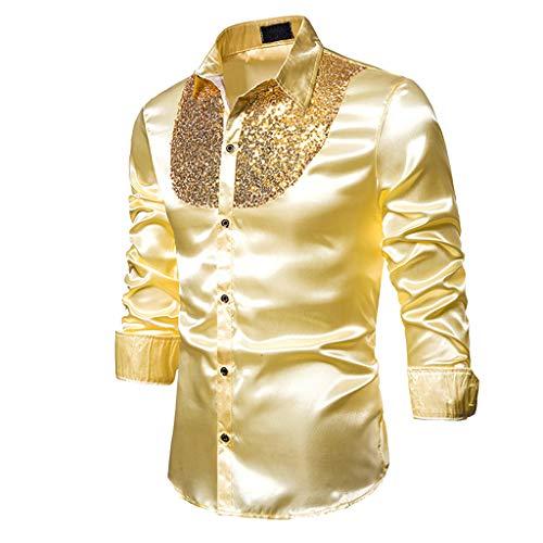 Baoblaze Herren Hemd Glänzend Shirt Glitzer Pailletten Schlank Kostüm für Karneval Fasching Weihnachten Party Clubwear - Goldenes M